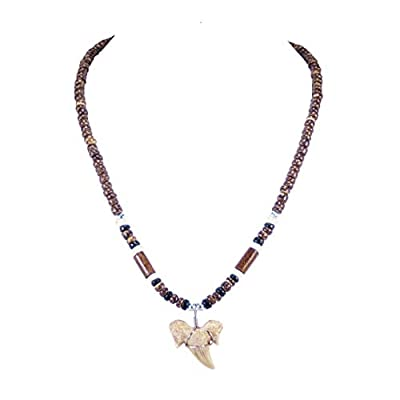 BlueRica Shark Tooth Pendant on Brown Coconut Beads & Wood Tubes Necklace (2S)