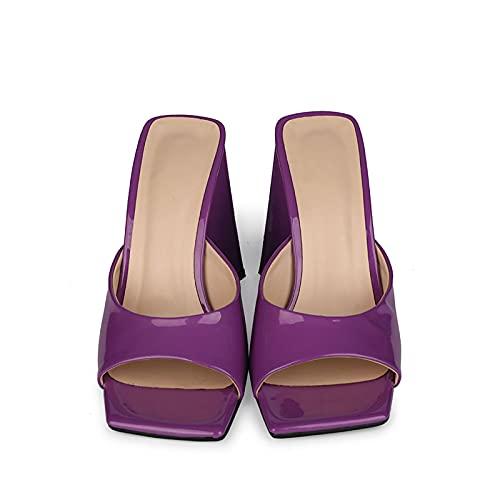 YIZHIYA Sandalias de Mujer,10cm Zapatillas de tacón Alto,Zapatillas de Punta Abierta con Punta Cuadrada,Vestido de Noche del Club del Banquete de Boda Tallas Grandes Bombas,Púrpura,34 EU
