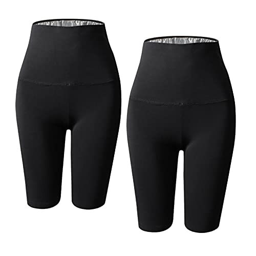 Sharplace 2X Pantalones de Sauna para Mujer Pantalones Cortos de Pérdida de Peso Leggings Running Home Gym Workout