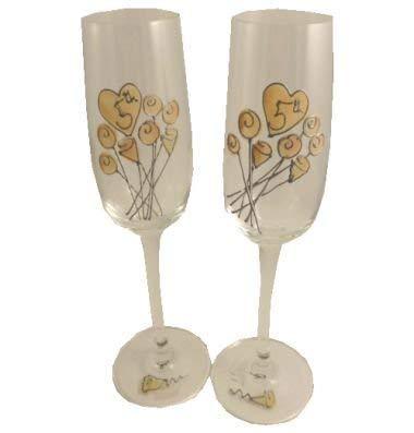 5ème Marriage Bois Anniversaire Paire de Flûtes à Champagne Fleur