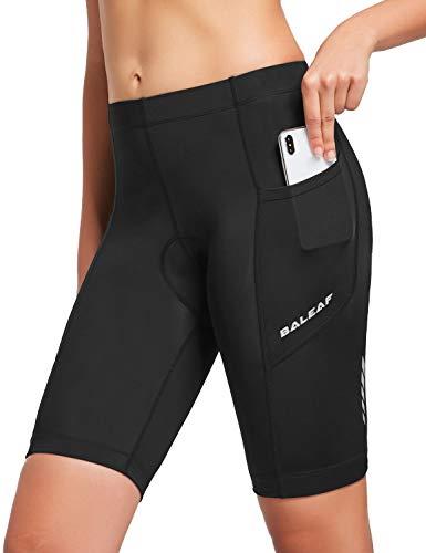 BALEAF - Pantalón corto de ciclismo para mujer, acolchado de gel 3D, cinturilla ancha, FPU 50+; para ciclismo, spinning, bicicleta de carretera