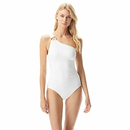 Michael Kors Iconic Solids One Shoulder One-Piece White 14