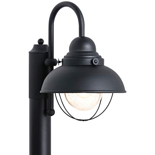 Sea Gull Lighting 8269-12 Sebring One-Light Outdoor Post Lantern with Clear Seeded Glass Diffuser, Black Finish