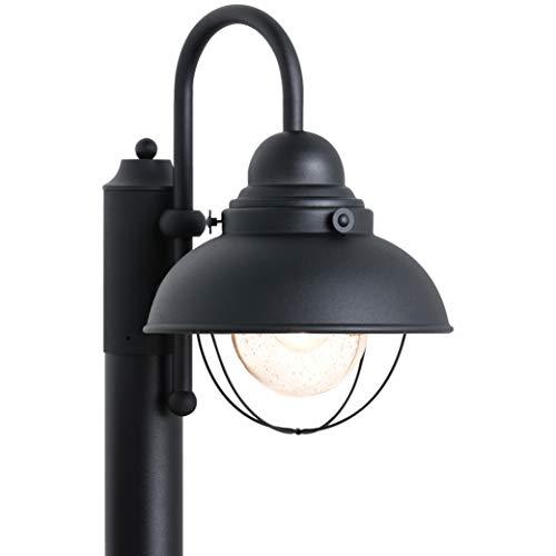 Sea Gull Lighting 8269-12 Sebring One-Light Outdoor Post Lantern Outside Fixture, Black Finish