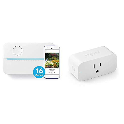 Rachio 3 Smart Sprinkler Controller, 16 Zone 3rd Generation, Alexa and Apple HomeKit, Freeze and Wind Skip & Amazon Smart Plug, Compatible with Alexa – A Certified for Humans Device