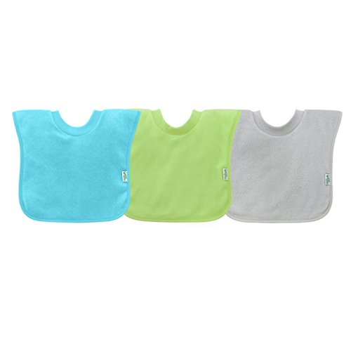 green sprouts Stay-dry Toddler Bib (3pk)   Convenient stay-put protection   Wide coverage & waterproof, Pull-over design, Bibs, One Size, Aqua set (Aqua, Green, Grey)
