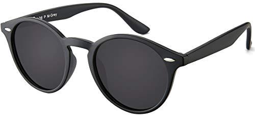 Sonnenbrille Herren Polarisiert Damen La Optica UV400 CAT 3 Retro Vintage Hippie Rund Round - Matt Schwarz (Polarisierte Gläser)