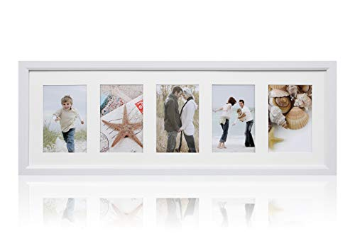 ARPAN MDF-Mehrfach-Bilderrahmen, Plastik, 5 Blenden Weiß, 5 Images