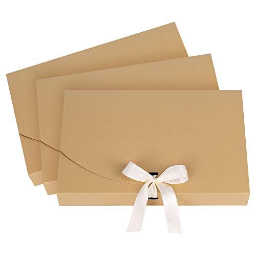 10 bolsas de regalo de bufanda, pañuelo, camisa, caja de regalo con cinta de seda, elegante, bolsa de regalo para Navidad, boda, San Valentín, día de la madre y del padre, color marrón 26*17.5