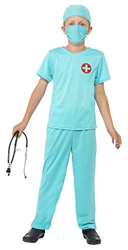 Smiffys kinderen Chirurg kostuum, bovenstuk, broek, muts, masker en stethoscoop, maat: L, 41090 Alter 4-6 Jahre blauw