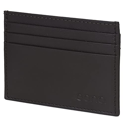 Amazon Brand - Eono - Tarjetero de Cuero con Compartimento para Billetes para Mujer y Hombre con diseño Plano y protección contra Lectura RFID (Piel de napa Vacuno marrón)