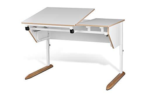 tiSsi Schreibtisch Paul für Schüler, höhenverstellbar und neigungsverstellbar, 10-fache Neigungsverstellung, Tischplatte in weiß, massives Metallgestell in weiß mit massiven Eichefüßen, weiß