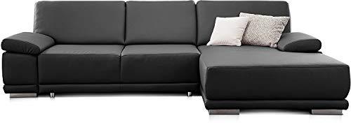 CAVADORE Ecksofa Corianne in Lederoptik / Couch inkl. Armteilverstellung und Longchair in modernem Design / 282 x 80 x 162 / Kunstleder, schwarz