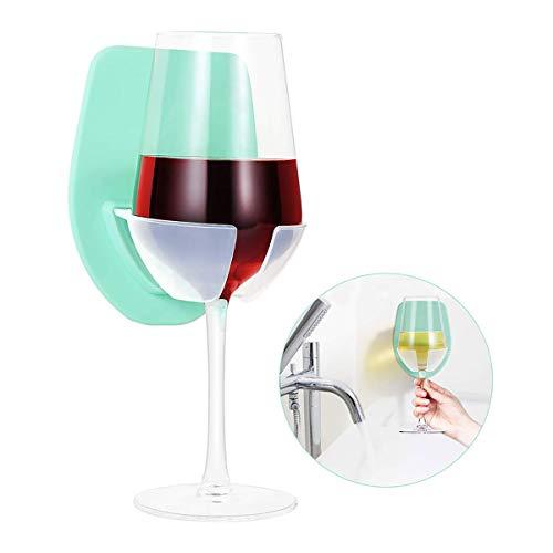 SagaSave Badewanne Weinregal, Kunststoff Weinglashalter für die Dusche im Bad Rotwein Glashalter Wein Glas Halter für Weingläse (Grün)