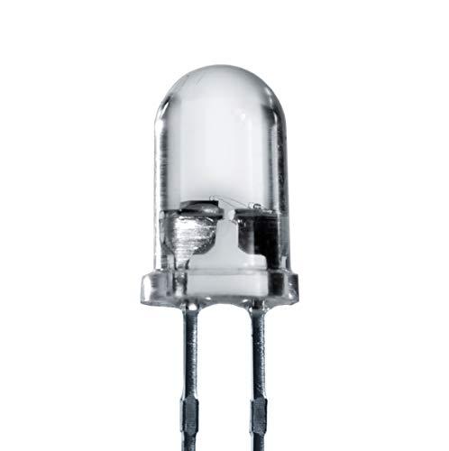 Lumetheus LED 5mm Farbe weiß 14.000 mcd 50 Stück Leuchtdiode extra hell 3V weiße Diode 2 Pin LEDs