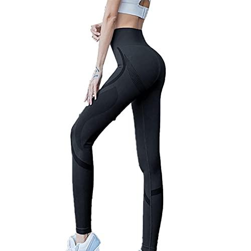 TIANLU Dames hoog getailleerde legging volledige lengte yoga broek drie kleuren drie maten-S(Below 55KG)-Zwart