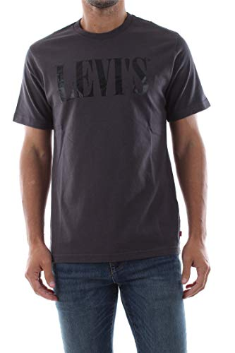 Levi's Relaxed Graphic Tee T-Shirt, Grigio (90's Serif Logo Forged Iron 0045), Small Uomo
