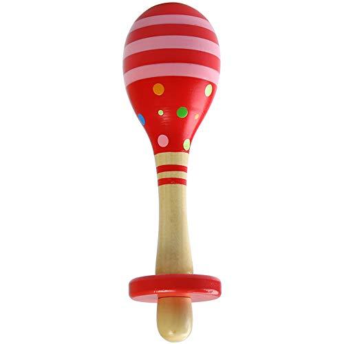 Kids Sand Hammer Maracas in legno fatti a mano in legno sonagli Baby Music sonagli Giocattoli per 1-4 anni Baby, Childen - 6.7 * 1.8 in,Red
