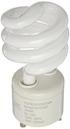 TCP CFL Spring Lamp, 60W Equivalent, Soft/Warm White (3000K) General Purpose Spiral Light Bulb, GU24 Base