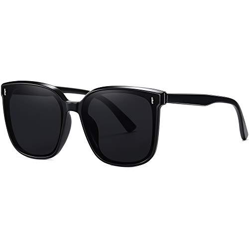 Square Oversized Sunglasses for Women Trendy Black Shades UV...