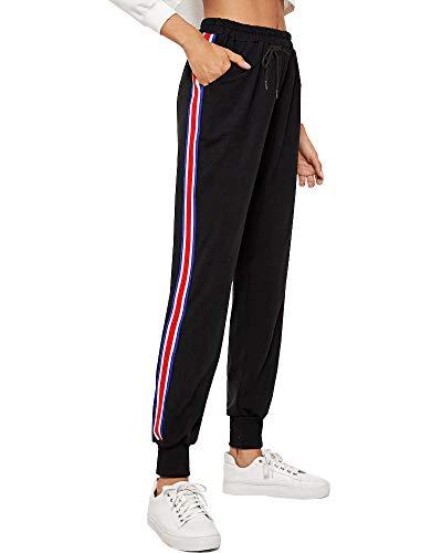 BUDERMMY Damen Jogginghose Sporthose Freizeit Streifen Hose Baumwolle Elastischer Bund Traininghose mit Taschen (Schwarz-S)