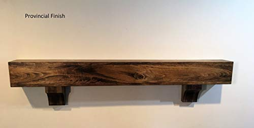 Rustic Wood Beam Floating Shelf Fireplace Mantel Mantle with Corbels