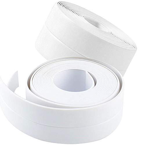 2 Pack Tape Caulk Strip, PVC Self Adhesive Caulking Sealing Tape for Kitchen Sink Toilet Bathroom Shower and Bathtub, 1-1/2