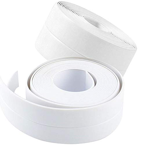 "2 Pack Tape Caulk Strip, PVC Self Adhesive Caulking Sealing Tape for Kitchen Sink Toilet Bathroom Shower and Bathtub, 1-1/2"" x 11' White"