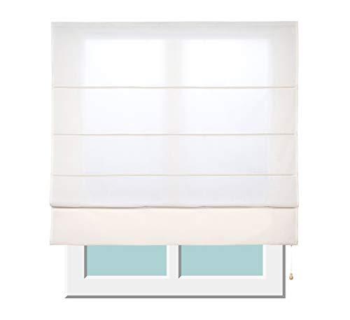 Stores Deco Estor Plegable con Varillas, Estor translúcido para Ventanas y Puertas (150 cm x 175 cm, Crudo)