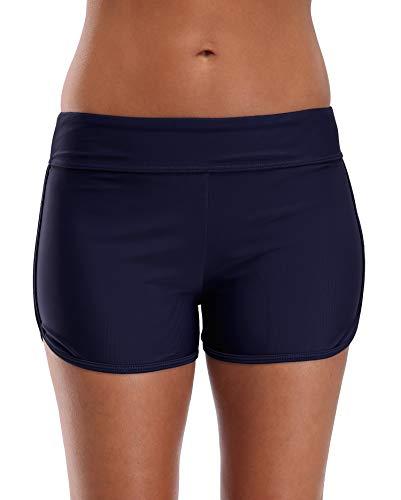BeautyIn Bikinishorts für Damen Elastisch Hotpants Frauen Bikini Slips Schwimmen Strandshorts, Navy, L