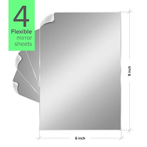 Nick's Deals Mirror Tiles – Mirror Wall Stickers Set of 4 – 6 x 9 Inch Self Adhesive Acrylic Mirror Sheets – Ultra-Flexible 1mm Thickness – Peel-Off Protective Layer – Ideal for Gym, DIY, Decor