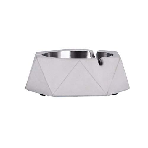 ZCX Cemento Cenicero Cenicero de Acero Inoxidable geométrica for el hogar Sala de Estar Minimalista Creativo Estilo Industrial Ceniceros portátiles (Color : B)