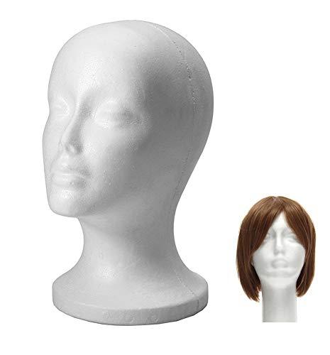 Xiton 1PC Maniqui de cabeza Mujer de Espuma Poliestireno Expositor para gorro auriculares accesorios de pelo y pelucas maniquies mujer