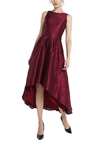 APART Elegantes Damen Kleid, Abendkleid, Cocktailkleid, aus Jacquard, Bordeaux-Farben, Vokuhila-Saum, Bordeaux, 44