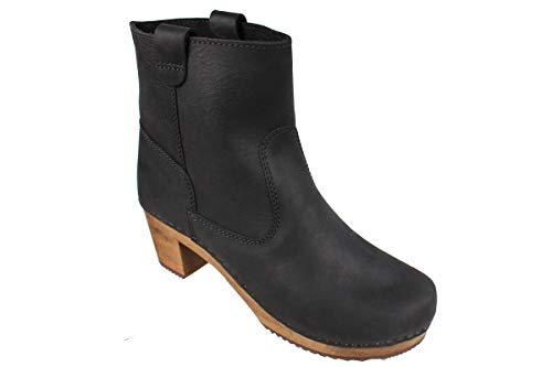 Lotta From Stockholm Swedish Anna Clog Boot in Black Soft Oiled Leather-36