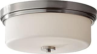 Feiss FM370BS Kincaid Glass Flush Mount Ceiling Lighting, Satin Nickel, 2-Light (13