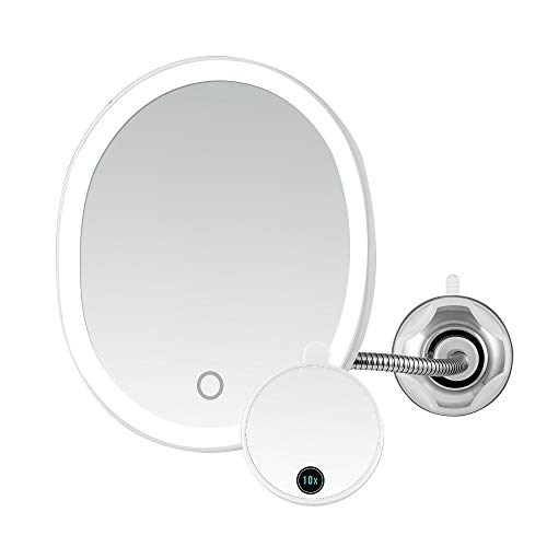 Ovente Lighted Flexible Gooseneck Makeup Mirror 8.5 In 1X 10X Magnification Suction Cup Mounting Dimmable Touch White LED Lights Rechargeable Micro USB Cord Operated Decor Locker Bathroom White MOW22W