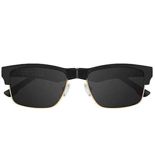 RHSMW Knochenleitung Smart Brille, Bluetooth 5.0 Öffnen Sie Smartphone-Sonnenbrille-Surround Dreidimensionale Lange Akkulaufzeit Sportmusik Im Freien,Gold