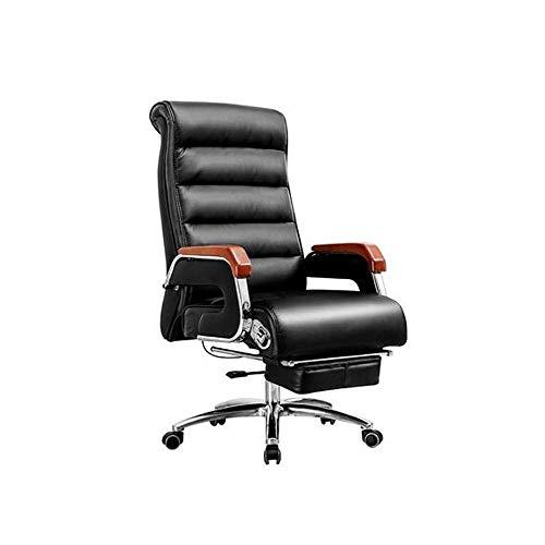 HENGXIANG bureaustoel, PU lederen computer stoel Computer stoel, Ergonomische roterende huis Reclining luxe High Back Boss Seat - zwart optioneel Zwart