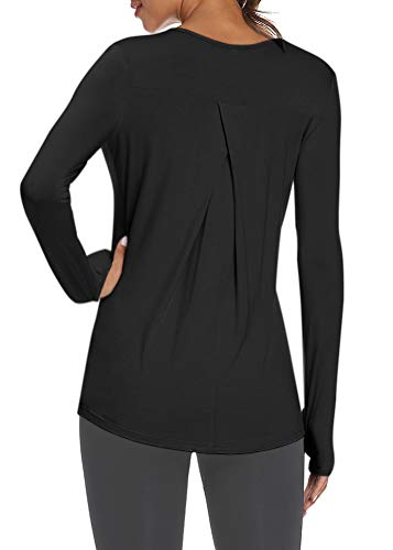 Mippo Long Sleeve Tunic Tops Womens Activewear Tops Gym Exercise Pilates Shirts Workout Running Long Sleeve Shirts Thumb Hole Tops for Women Black XL