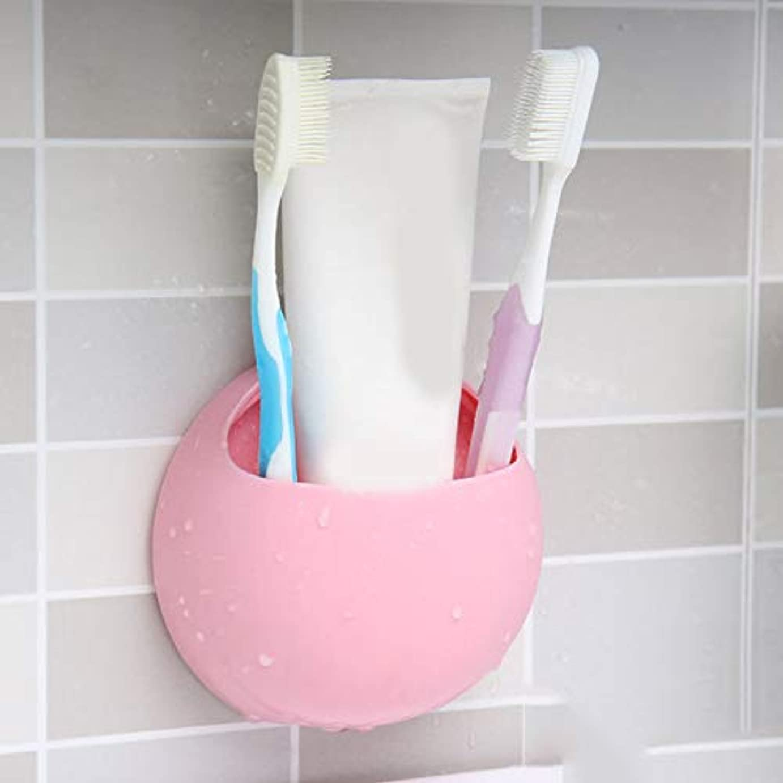 タックル提案するビルダーかわいい歯ブラシホルダー壁吸盤オーガナイザー浴室棚収納ラックバスルームキッチンアクセサリー (ピンク)
