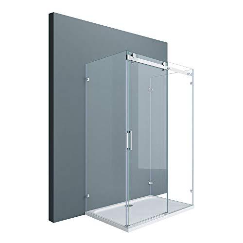 Sogood U-Form Duschkabine Ravenna17-2 80x100x195cm Duschabtrennung mit Schiebetür ESG-Sicherheitsglas Klarglas 4-Punktbefestigung inkl. beidseitiger Easy-Clean-Beschichtung