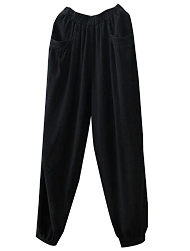 Minibee Women's New Cotton Linen Tapered Cropped Pants Elastic Waist Trousers Black-XL