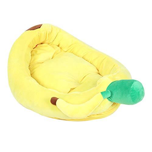 Cama tipo banana para perros, cama duradera para perros, diseño separado, delicada mano de obra fina, agradable a la piel para dormir y descansar(amarillo, L)