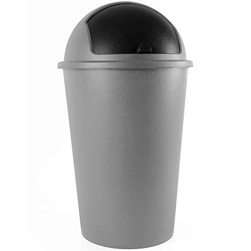 Deuba Mülleimer 50 L Silber Abfalleimer mit Schiebedeckel Abnehmbar Müllbehälter Kunststoff Abwaschbar Küche Büro Robust