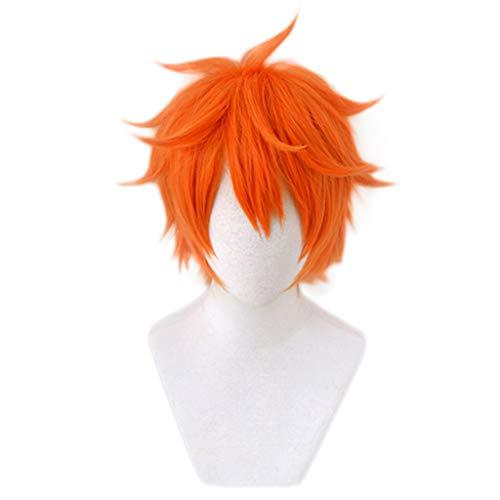 Ani·Lnc Haikyuu !! Hinata Syouyou Kurze Orange Flauschige geschichtete Cosplay Perücken Hitzebeständiges Kunsthaar Anime Perücke + Perückenkappe