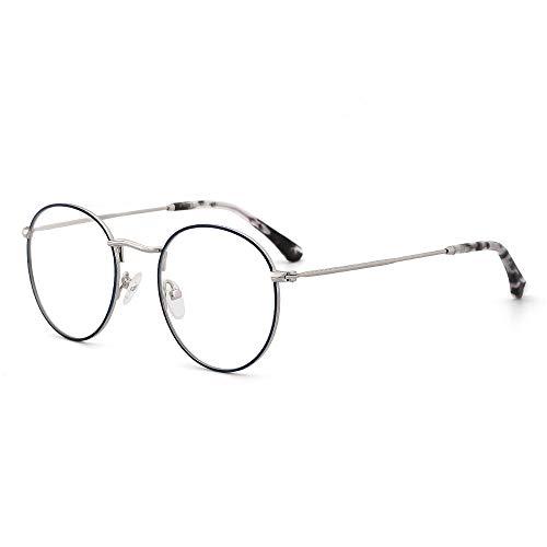 OQ CLUB Gafas para Mujer Redondo Retro Bloqueador de luz azul Montura Pequeña Metal de Moda