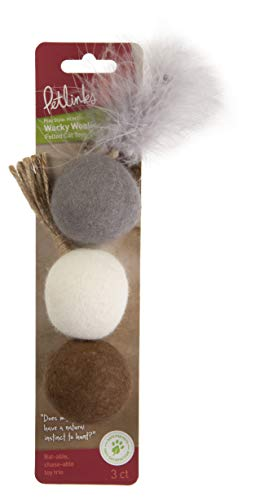 Petlinks Wacky Woolies Set of 3 Wool Felt Cat Toys