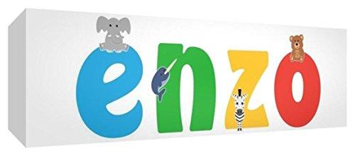 Little Helper LHV-ENZO-1542-15IT Toile pour Nursery avec panneau frontal, motif personnalisable avec prénom des garçons Enzo, multicolore, 15 x 42 x 4 cm