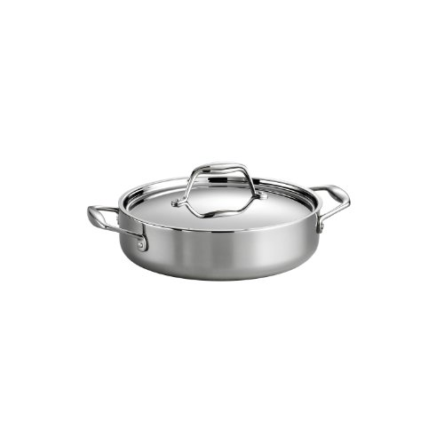Tramontina 80116/009DS Gourmet Stainless Steel Induction-Ready Tri-Ply Clad Covered Braiser, 3-Quart, NSF-Certified, Made in Brazil